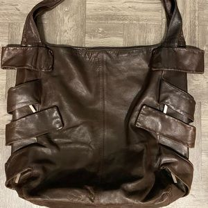 Fendi brown leather strappy hobo bag